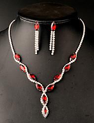 Women's Jewelry Set Drop Earrings Pendant Necklaces Crystal Imitation Emerald Rhinestone Imitation Ruby Bridal Elegant Festival/Holiday