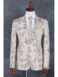 cheap -Champagne Patterns Standard Fit Polyester Suit - Notch Single Breasted Two-buttons