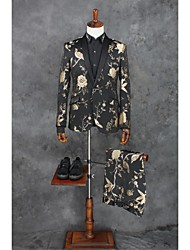 cheap -Black Patterns Tailored Fit Polyester Suit - Shawl Collar Single Breasted One-button
