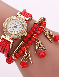 cheap -Women's Layered Leather Beads Strand Band White Case Analog Quartz Wrap Bracelet Fashion Watch