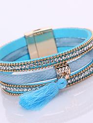 cheap -Women's Crystal Tassel Chain Bracelet / Wrap Bracelet / Leather Bracelet - Leather, Rhinestone, Imitation Diamond Luxury, Tassel, Bohemian Bracelet Gray / Pink / Light Blue For Daily / Casual