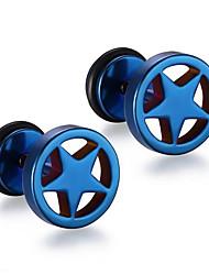 abordables -Hombre Pendientes cortos - Acero inoxidable Estrella Punk, Moda Azul / Dorado / Arco iris Para Regalos de Navidad / Diario / Casual