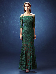 Mermaid / Trumpet Off-the-shoulder Floor Length Lace Satin Formal Evening Dress with Lace by Beautiful Life