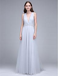 Tubinho Decote V Cauda Escova Tule Vestido de Madrinha com Detalhes em Cristal de LAN TING BRIDE®