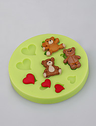 Cake Baking Tools Teddy Bear Heart Silicone Fondant Mold Cake Decorating Tools Color Random