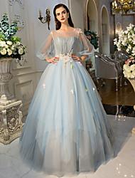 Robe de Soirée Princesse Illusion Neckline Longueur Sol Tulle Soirée Formel Robe avec Détail Cristal Fleur(s) Dentelle Pan drapé par QZ