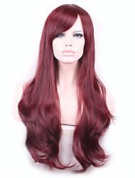 Donna Parrucche sintetiche Senza tappo Onda naturale Nero Marrone chiaro Marrone scuro Borgogna Parrucca Cosplay Parrucca di Halloween