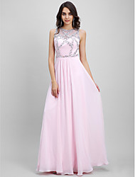 cheap -Sheath / Column Illusion Neck Floor Length Chiffon Sparkle & Shine Prom / Formal Evening Dress with Beading by TS Couture®
