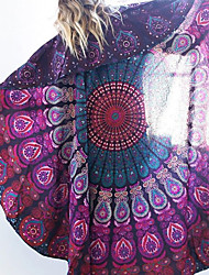 Women's Boho Round Cover-Up,Floral Chiffon White / Purple / Green / Red / Black / Dark Blue