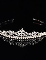 Brass Crystal Imitation Pearl Rhinestone Tiaras Headpiece Elegant Style