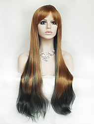 cheap -Synthetic Wig Wavy / Natural Wave Asymmetrical Haircut / With Bangs Synthetic Hair Ombre Hair / Natural Hairline Brown Wig Women's Long Capless