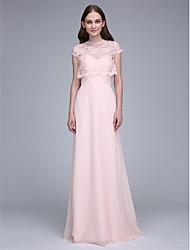 cheap -Sheath / Column Sweetheart Neckline Sweep / Brush Train Chiffon Bridesmaid Dress with Lace by LAN TING BRIDE® / Convertible Dress