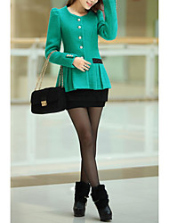 Women's Going out / Casual/Street chic Trench Coat,Solid Round Neck Long Sleeve Fall Blue / Red / Green Wool Medium