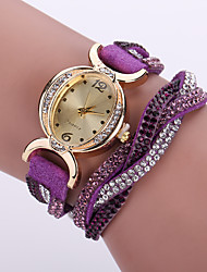 Women's Bohemian Style Crystal Leather Band Strap Watch White Case Analog Quartz Bracelet Fashion Watch