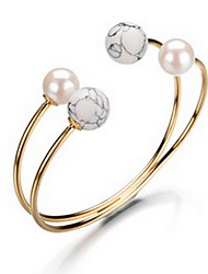 Alloy Pearl Natural Stone Gem Adjustable Cuff Bangle Bracelet