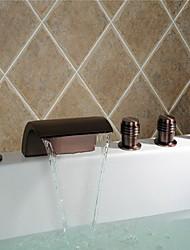 preiswerte -Antik Romanische Wanne Wasserfall / Breite spary / Handdusche inklusive with  Keramisches Ventil Zwei Griffe Fünf Löcher for  Bronze mit