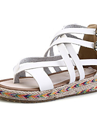 cheap -Women's Shoes PU Flat Heel Comfort / Round Toe Sandals Dress Black / Brown / White