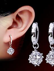cheap -Women 925 Fine Silver Tassl Drop Zircon Earrings for Wedding Party