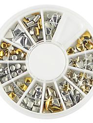 billiga -En palett av olika form gyllene silver nail art dekoration