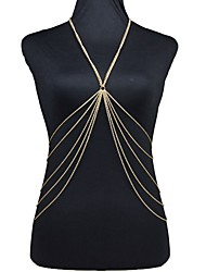 cheap -Tassel / Long / Crossover Belly Chain / Body Chain / Harness Necklace - Gold Plated Tassel, European, Bikini Women's Golden Body Jewelry For Daily / Casual / Beach