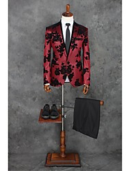 cheap -Red Patterns Tailored Fit Polyester Suit - Peak Single Breasted One-button