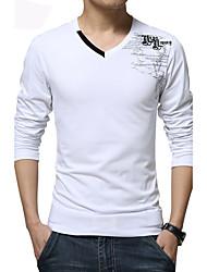 voordelige -Print-Informeel / Grote maten-Heren-Katoen / Spandex-T-shirt-Lange mouw Zwart / Blauw / Wit