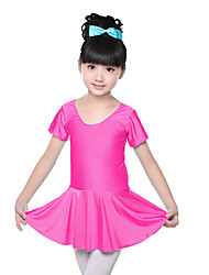 abordables -Ballet Robes Entraînement Spandex Ruché Manches courtes Taille moyenne Robe
