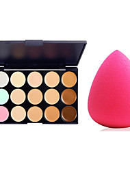 2in1 Dry&Wet Water Drop Microfiber Sponge Powder Puff&15 Colors Natural Concealer(2 Color Concealer Choose)