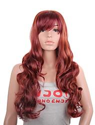 Ženy #130 Kaštanová Fuxia Silné vlny Umělé vlasy Bez krytky černá paruka paruky