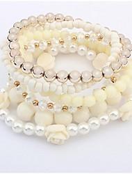 Wrap Bracelets 1pc,Beige / Blue / Pink Bracelet Fashionable Round 514 Alloy Jewellery