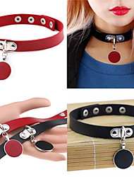 Punk Rock Gothic PU Leather Choker Necklace Circular Pendant Necklace Gift Jewelry Women