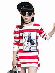 Girls' Daily Striped Tee,Cotton Spring Fall Long Sleeve Stripes Black Purple Red