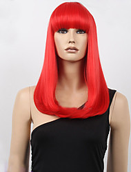 cheap -Middle Long Bob High Quality Synthetic Red Straight Hair Synthetic Wigs With Full Bang
