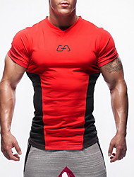 cheap -Men's V Neck Running Shirt - Red, Green, Blue Sports Top Fitness, Gym, Workout Short Sleeve Activewear High Strength, Soft, Comfortable Stretchy