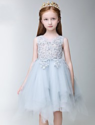 cheap -A-Line Knee Length Flower Girl Dress - Tulle Sleeveless Jewel Neck with Appliques Lace by LAN TING Express
