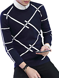 2016 new autumn and winter sweater sweater Mens Long Sleeved Plaid trend of Korean men
