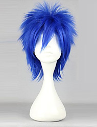 cheap -Cosplay Wigs Fairy Tail Mystogan Blue Short Anime Cosplay Wigs 35 CM Heat Resistant Fiber Male