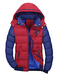 Men's Regular Padded Coat,Casual Daily Color Block-Polyester Cotton Long Sleeves Hooded