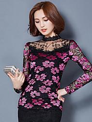 Tee-shirt Femme,Mosaïque Décontracté / Quotidien Chic de Rue Printemps Automne Manches Longues Col Ras du Cou Rose Rouge Beige Vert