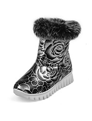 Women's Boots Spring Fall Winter Comfort Fur PU Office & Career Casual Athletic Flat Heel Flower Black Silver Red Cycling