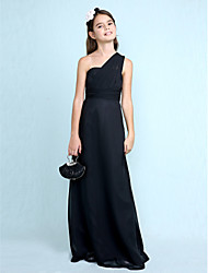 Sheath / Column One Shoulder Floor Length Chiffon Junior Bridesmaid Dress with Side Draping by LAN TING BRIDE®