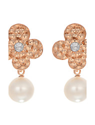 cheap -Top Quality New Fashion Korea Jewelry 18K Rose Gold Plated Imitation Pearl Flower Earrings With Rhinestone for Women