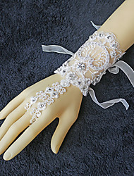 Ivory Wrist Length Fingerless Glove Lace Bridal Glove Beading / Rhinestone