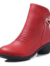 Недорогие -Жен. Обувь для модерна / Танцевальные сапожки Дерматин Ботинки Молнии На низком каблуке Не персонализируемая Танцевальная обувь Серый / Коричневый / Красный