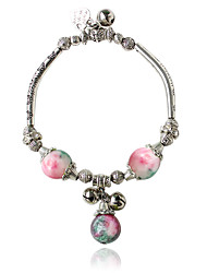 cheap -Charm Bracelets 1pc,Black / White / Blue / Green / Pink Bracelet Bohemia Style Round  Alloy / Zircon Jewellery