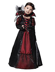 cheap -Costumes Ghost / Zombie / Vampires Halloween / Christmas / Carnival / Children's Day Red Vintage Dress / Necklace
