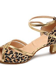 preiswerte -Damen Latin Modern Satin Absätze Praxis Innen Verschlussschnalle Stöckelabsatz Leopard Maßfertigung