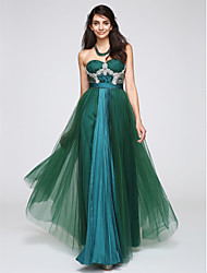 cheap -A-Line Sweetheart Floor Length Tulle Prom Formal Evening Dress with Crystal Detailing Draping Lace Sequins Ruching by TS Couture®