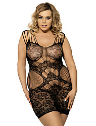 Women Sexy Lace Black Plaid Pattern Perspective Hollow Lingerie