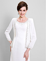 cheap -Long Sleeves Chiffon Wedding Party Evening Women's Wrap With Beading Coats / Jackets